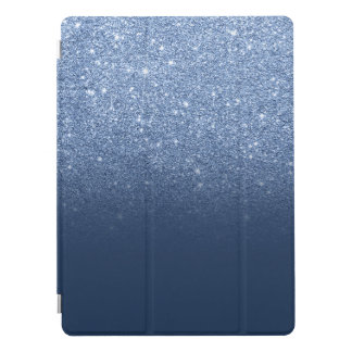 Trendy navy peony faux glitter ombre pattern iPad pro cover