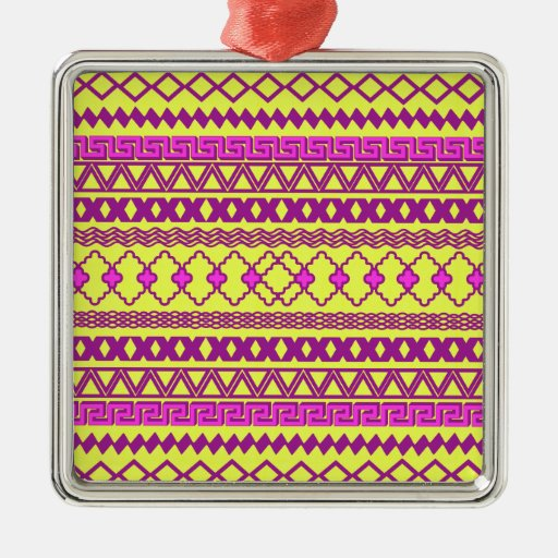 Trendy Neon Yellow Pink Tribal Aztec Pattern Silver