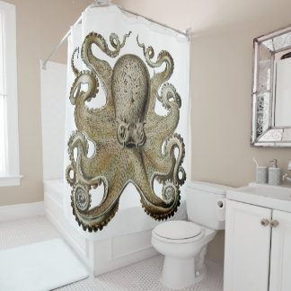 Trendy  Octopus Black  Shower curtain silver gold