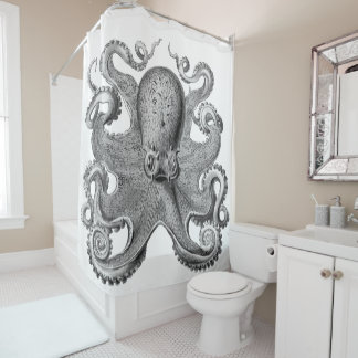 Trendy  Octopus Black  Shower curtain silver grey