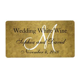 Trendy Old Gold Black Wedding Wine Label Monogram Shipping Label