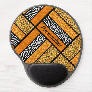 Trendy Orange African Animal Print With Name Gel Mouse Pad