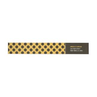 Trendy Orange & Brown Polka Dot Wraparound Return Address Label