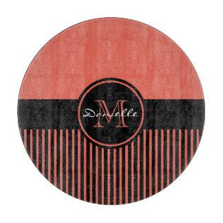 Trendy Orange Chic Black Stripes Circle Monogram Cutting Board
