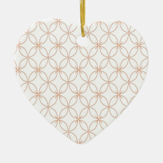 Trendy orange quatrefoil pattern ceramic heart decoration