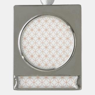 Trendy orange quatrefoil pattern silver plated banner ornament
