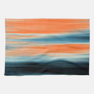 Trendy Orange Red Blue Stripes Tea Towel