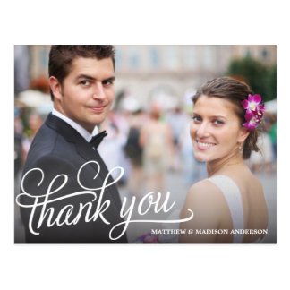 TRENDY OVERLAY WEDDING THANK YOU POST CARD