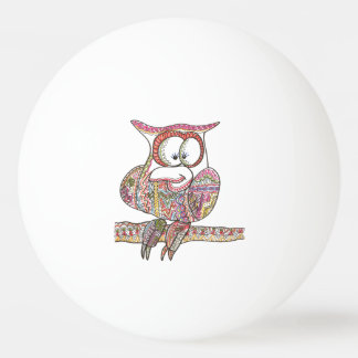 Trendy Owl - Modern Art Ink Drawing Ping Pong Ball