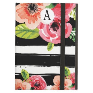Trendy Painted Flowers With Black White Stripes Cover For iPad Air