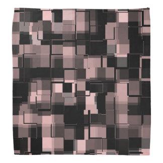 Trendy Pale Pink Black White Gray Abstract Pattern Bandana