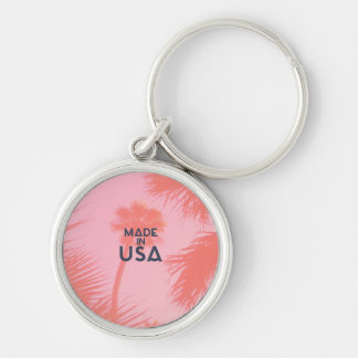 Trendy Palm Tree Bright Peach Made In  USA Type Key Chain