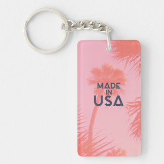 Trendy Palm Tree Bright Peach Made In  USA Type Acrylic Key Chain