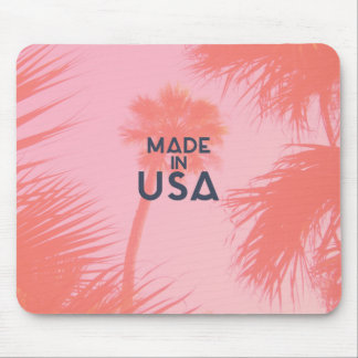 Trendy Palm Tree Bright Peach Made In  USA Type Mouse Pad
