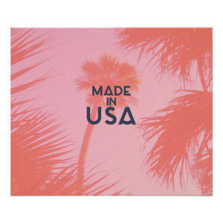 Trendy Palm Tree Bright Peach Made In  USA Type Poster