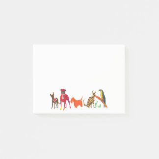 Trendy Parade of Pets Cats Dogs and Toucan Post-it Notes