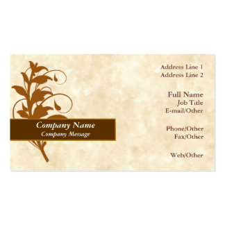 Trendy Parchment w/ Brown leaves Business Card