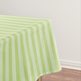 Trendy Pastel Bright Lime Green Stripes Pattern Tablecloth