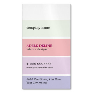 Trendy Pastel Colors Stripes Interior Designer Magnetic Business Cards (Pack Of 25)