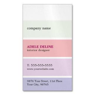 Trendy Pastel Colors Stripes Interior Designer Magnetic Business Cards