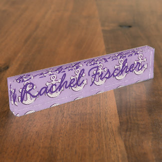 Trendy Pastel Purple and White Anchors Nameplate