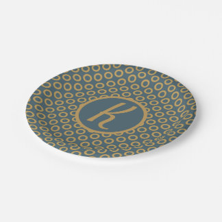 Trendy Pattern With Personal Monogram Paper Plate