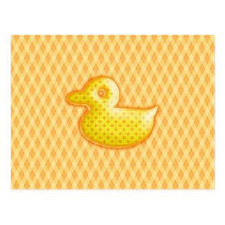 Trendy Patterned Rubber Ducky Postcard