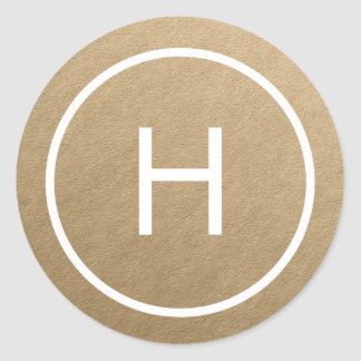 Trendy Peace Round Monogram Stickers - Gold