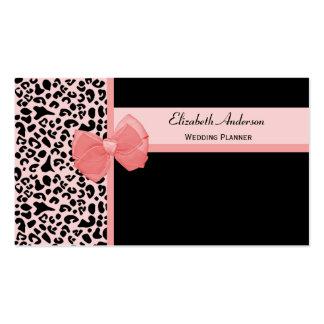 Trendy Peach Leopard Print Wedding Planner Pack Of Standard Business Cards