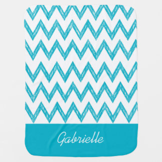 Trendy Pencil Turquoise Chevron Zigzags With Name Baby Blanket