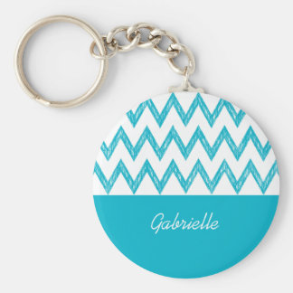 Trendy Pencil Turquoise Chevron Zigzags With Name Basic Round Button Key Ring