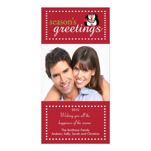 Trendy Penguin Couple Family Christmas Photo Card
