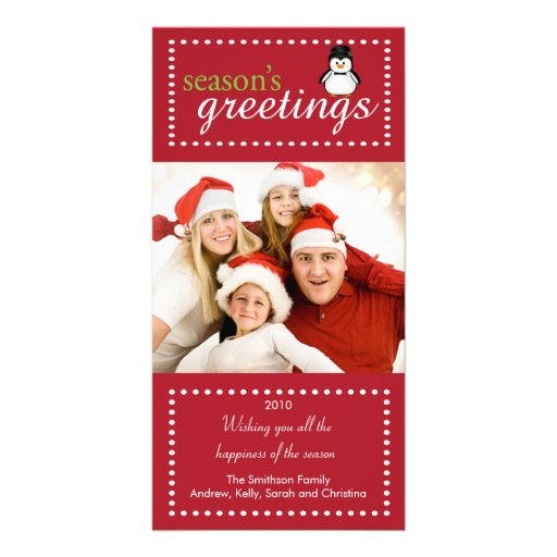 Trendy Penguin Family Christmas Photo Card