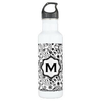 Trendy Personalized Hearts and Love Doodle Pattern 710 Ml Water Bottle