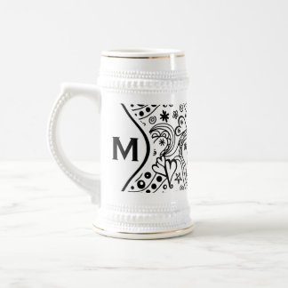 Trendy Personalized Hearts and Love Doodle Pattern Beer Stein