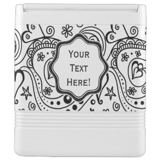 Trendy Personalized Hearts and Love Doodle Pattern Cooler