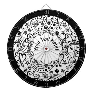 Trendy Personalized Hearts and Love Doodle Pattern Dart Board
