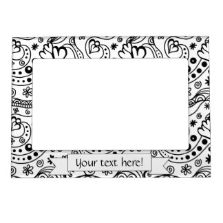 Trendy Personalized Hearts and Love Doodle Pattern Magnetic Frame