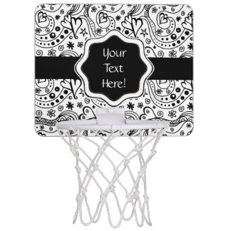 Trendy Personalized Hearts and Love Doodle Pattern Mini Basketball Hoop
