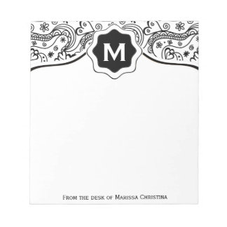 Trendy Personalized Hearts and Love Doodle Pattern Notepad