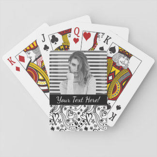 Trendy Personalized Hearts and Love Doodle Pattern Playing Cards