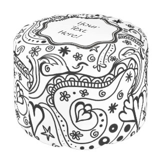 Trendy Personalized Hearts and Love Doodle Pattern Pouf