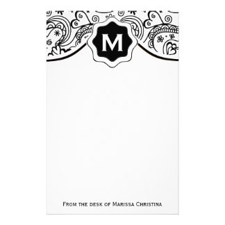 Trendy Personalized Hearts and Love Doodle Pattern Stationery