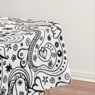 Trendy Personalized Hearts and Love Doodle Pattern Tablecloth
