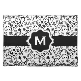 Trendy Personalized Hearts Love Monogram Pattern Placemat