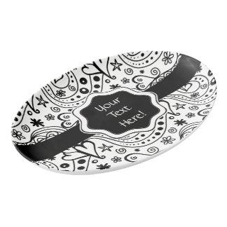 Trendy Personalized Hearts Love Monogram Pattern Porcelain Serving Platter