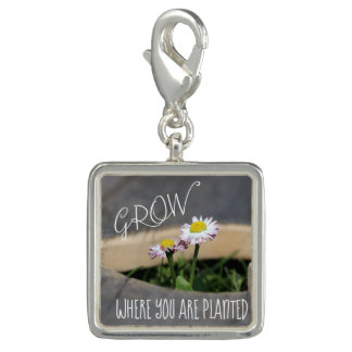 Trendy Photo Charm Bracelet Grow Quote
