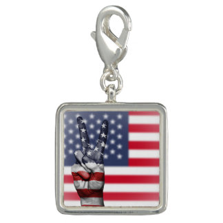 Trendy Photo Charm Bracelet Patriotic Peace Flag