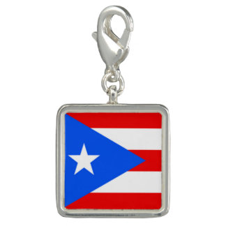 Trendy Photo Charm Bracelet Puerto Rico Flag