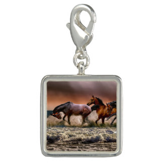 Trendy Photo Charm Bracelet Running Horses